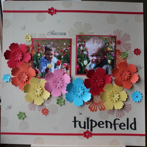 """Scrapbooklayout/Scrapbookseite \""""Freunde\"""", benutzt wurde die Boho-Blütenstanze und das Stempelset \""""Mixed Bunch\"""", Bild1, gebastelt mit Produkten, Stempeln und Stanzen von Stampin\' Up!"""