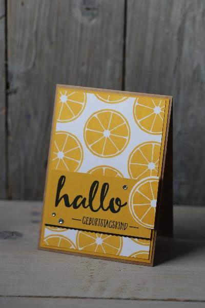 Zitronenkarte, Bild1, gebastelt mit Produkten von Stampin\' Up!.