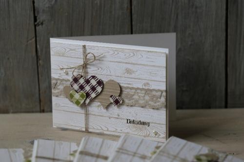 Hochzeitskarte, Karierte Herzen, Bild3, gebastelt mit Produkten von Stampin\' Up!