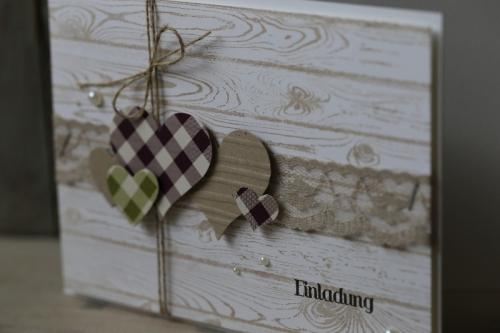 Hochzeitskarte, Karierte Herzen, Bild2, gebastelt mit Produkten von Stampin\' Up!