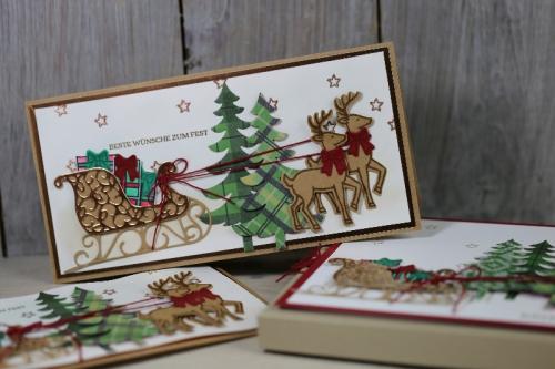 Weihnachtskarte Weihnachtsschlitten, Bild1 gebastelt mit Produkten von Stampin\' Up!