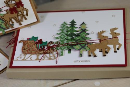 Weihnachtskarte Weihnachtsschlitten, Bild3 gebastelt mit Produkten von Stampin\' Up!