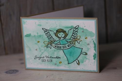 Weihnachtskarte Engel, Bild1, gebastelt mit Produkten von Stampin\' Up!