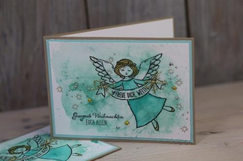 Weihnachtskarte Engel, Bild2, gebastelt mit Produkten von Stampin\' Up!