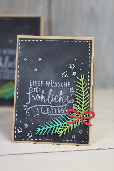 Weihnachtskarte Chalkboard-Technik, Bild1, gebastelt mit Produkten von Stampin\' Up!