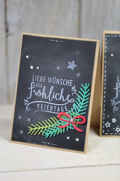 Weihnachtskarte Chalkboard-Technik, Bild2, gebastelt mit Produkten von Stampin\' Up!