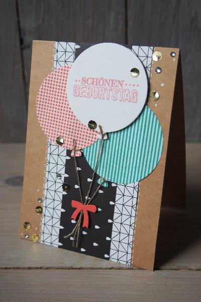 Geburtstagskarte Luftballons, Bild1, gebastelt mit Produkten von Stampin' Up!