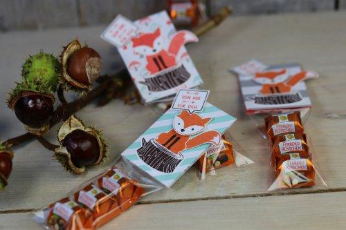 Ferrero Küsschen Verpackung mit Fuchsen, Bild1, mit Produkten von Stampin' Up!