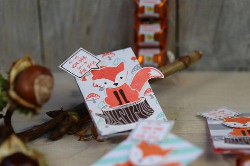 Ferrero Küsschen Verpackung mit Fuchsen, Bild2, mit Produkten von Stampin' Up!