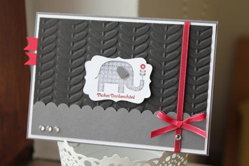 Danksagungskarte mit Sale-A-Bration Stempelset Gemusterte Grüße und Prägeform Retro Reben, Bild1, gebastelt mit Produkten, Stempeln und Stanzen von Stampin\' Up!