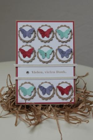 Danksagungskarte mit Schmetterlingen, benutzt wurde die Stanze