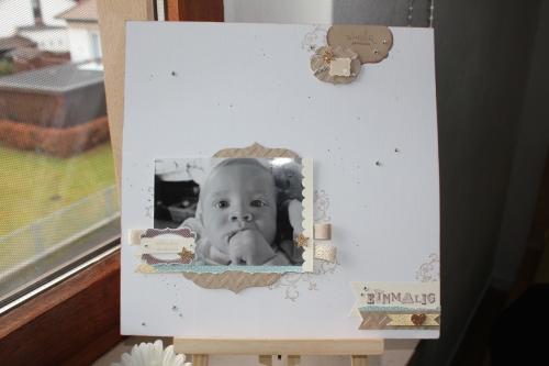 Scrapbookseite/Layout Babyfoto, Bild 1, gebastelt mit Produkten, Stempeln und Stanzen von Stampin\' Up!