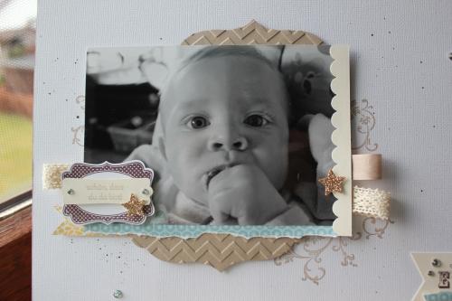 Scrapbookseite/Layout Babyfoto, Bild 2, gebastelt mit Produkten, Stempeln und Stanzen von Stampin\' Up!