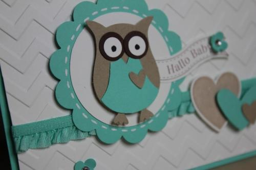Babykarte mit der Eule in Jade, Bild1, gebastelt mit Produkten, Stanzen und Stempeln von Stampin\' Up!