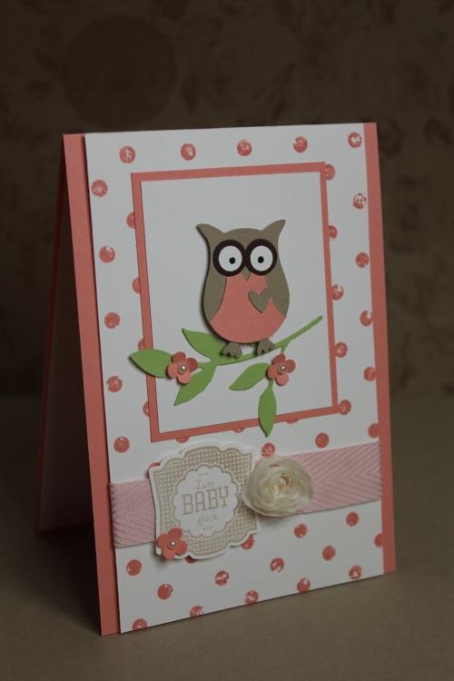 Babykarte mit der Eule in Altrose, Bild1, gebastelt mit Produkten, Stanzen und Stempeln von Stampin\' Up!