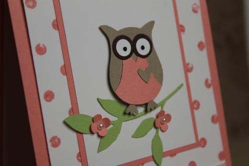 Babykarte mit der Eule in Altrose, Bild2, gebastelt mit Produkten, Stanzen und Stempeln von Stampin\' Up!