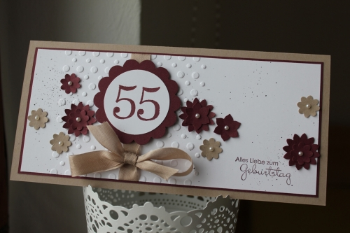 Geburtstagskarte zum 55. Geburtstag, mit Boho-Blütenstanze und Stempelset Perfekte Pärchen,Bild1, gebastelt mit Produkten, Stempeln und Stanzen von Stampin\' Up!