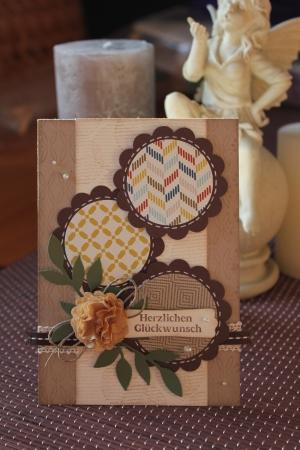 Geburtstagskarte mit Kaffeefilterblume und Wellenkreisstanze, Bild1, mit Produkten, Stempeln und Stanzen von Stampin\' Up!