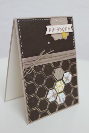 Portugiesische Geburtstagskarte, benutzt wurde die Prägeform