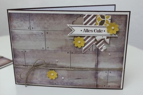 Karte mit Holzoptik, benutzt wurde das Stempelset