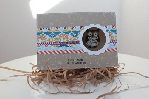 Geburtstagskarte mit Eule, benutzt wurde die Eulenstanze, Bild1, gebastelt mit Produkten, Stanzen und Stempeln von Stampin\' Up!