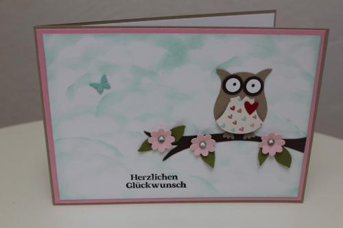Geburtstagskarte mit der Eulenstanze, Bild4, gebastelt mit Produkten, Stanzen und Stempeln von Stampin\' Up!