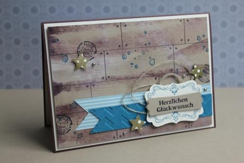 Geburtstagskarte für einen Mann, Bild1, gebastelt mit Produkten, Stanzen und Stempeln von Stampin\' Up!