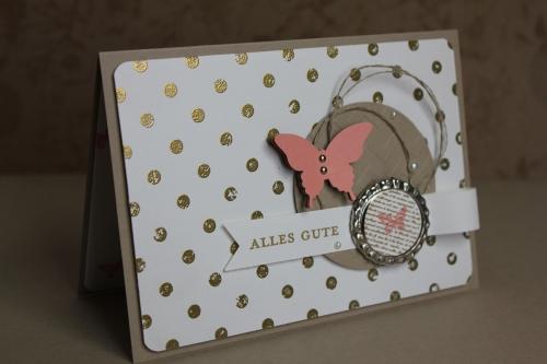 Geburtstagskarte Distressed Dots, Bild1, gebastelt mit Produkten, Stanzen und Stempeln von Stampin\' Up!