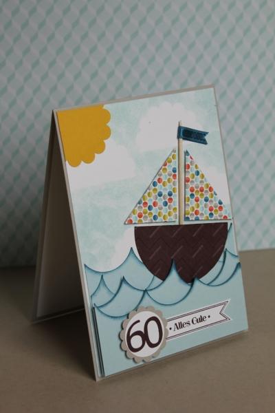 Geburtstagskarte Segelschiff, Bild1, gebastelt mit Produkten, Stanzen und Stempeln von Stampin\' Up!