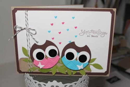 Punchart Karte mit Eulen, Valentinstag, Stempelset Frühlingsgefühle, Bild 1, gebastelt mit Produkten, Stempeln und Stanzen von Stampin\' Up!