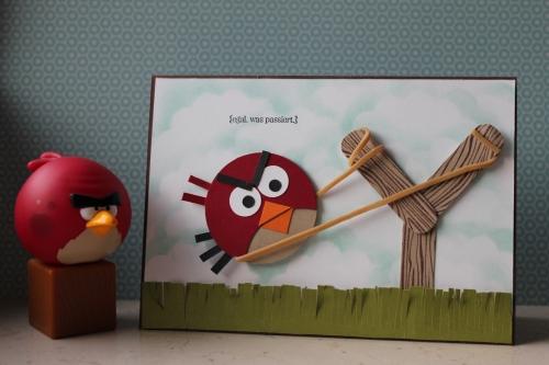 Grußkarte Angy Birds, benutzt wurden verschiedene Kreisstanzen und das Stempelset Perfekt Pärchen, Bild1, gebastelt mit Produkten, Stempeln und Stanzen von Stampin\' Up!
