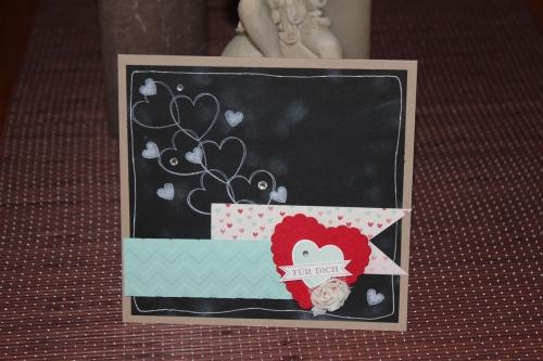 Grußkarte für Dich mit Chalkboard Technik mit dem Stempelset Hearts a Flutter, Bild1, mit Produkten, Stempeln und Stanzen von Stampin\' Up!