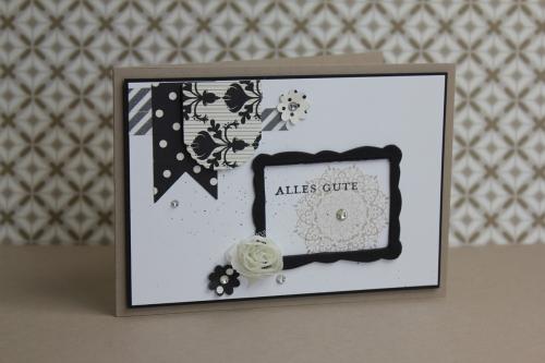 Grußkarte Schwarz Weiß, Bild1, gebastelt mit Produkten, Stanzen und Stempeln von Stampin\' Up!