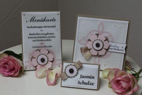 Hochzeitsset1, benutzt wurde das Stempelset Mixed Bunch und die Blumenstanze, Bild1, gebastelt mit Produkten, Stanzen und Stempeln von Stampin\' Up!