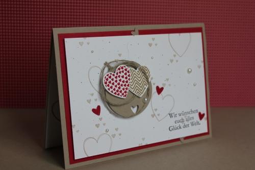 Hochzeitskarte, Bild1, gebastelt mit Produkten, Stanzen und Stempeln von Stampin\' Up!