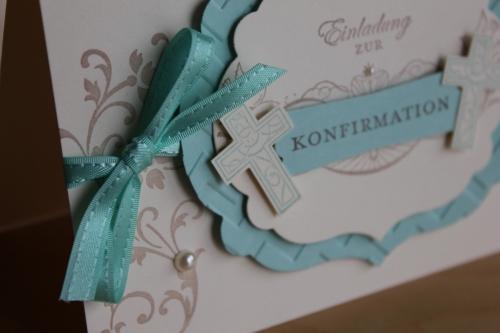 Einladung zu Kinfirmation/Kommunion, benutzt wurde das Stempelset