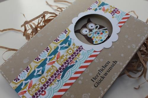 Geburtstagskarte mit Eule, benutzt wurde die Eulenstanze, Bild2, gebastelt mit Produkten, Stanzen und Stempeln von Stampin\' Up!