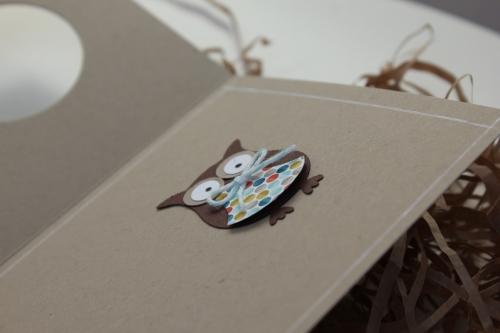 Geburtstagskarte mit Eule, benutzt wurde die Eulenstanze, Bild3, gebastelt mit Produkten, Stanzen und Stempeln von Stampin\' Up!