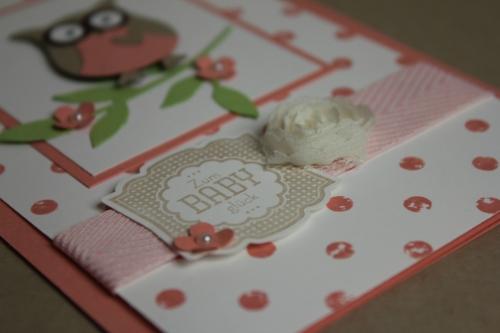 Babykarte mit der Eule in Altrose,Bild3, gebastelt mit Produkten, Stanzen und Stempeln von Stampin\' Up!