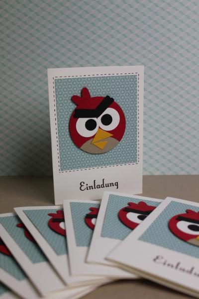 Angry Birds Geburtstagseinladung, Bild 1, gebastelt mit Produkten, Stanzen und Stempeln von Stampin\' Up!
