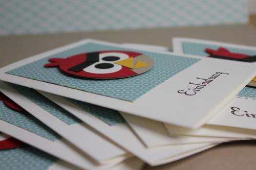 Angry Birds Geburtstagseinladung, Bild 3, gebastelt mit Produkten, Stanzen und Stempeln von Stampin\' Up!