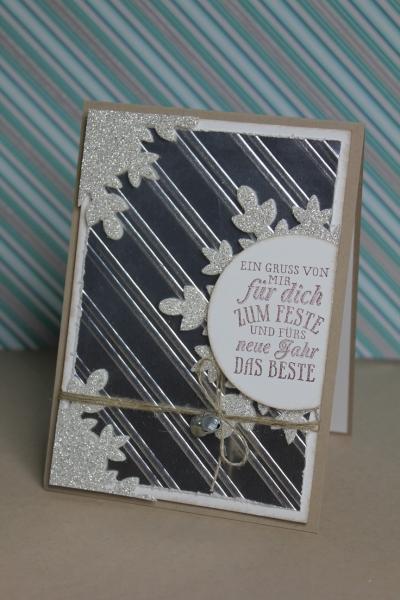 Weihnachtskarte Silber, Bild1, gebastelt mit Produkten von Stampin\' Up!