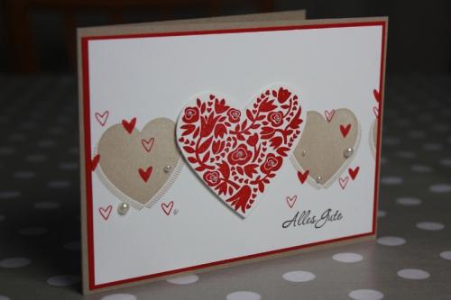 Hochzeitskarte, Flowerfull Heart, Bild1, gebastelt mit Produkten von Stampin\' Up!