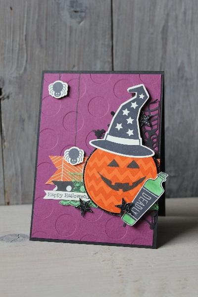 Halloweenkarte Kürbiskopf, Bild1, gebastelt mit Produkten von Stampin\' Up!