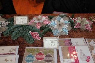Weihnachtsmarkt mit Weihnachtssternen, gebastelt mit Produkten, Stempeln und Stanzen von Stampin\' Up!