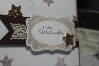 Grußkarte von Stampin\' Up ! mit Sternenstanze und dem Stempelset Merry Minis, gebastelt mit Produkten, Stempeln und Stanzen von Stampin\' Up!