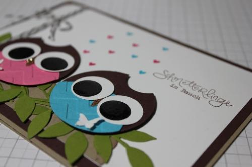 Punchart Karte mit Eulen, Valentinstag, Stempelset Frühlingsgefühle, Bild 2, gebastelt mit Produkten, Stempeln und Stanzen von Stampin\' Up!
