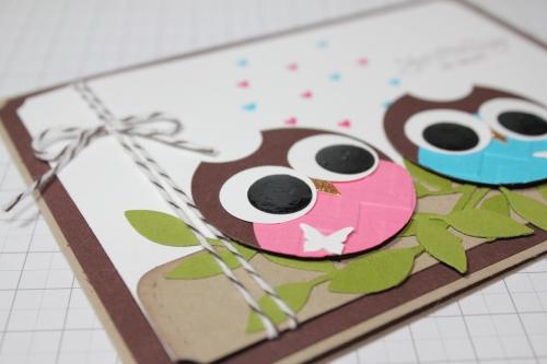 Punchart Karte mit Eulen, Valentinstag, Stempelset Frühlingsgefühle, Bild 3, gebastelt mit Produkten, Stempeln und Stanzen von Stampin\' Up!