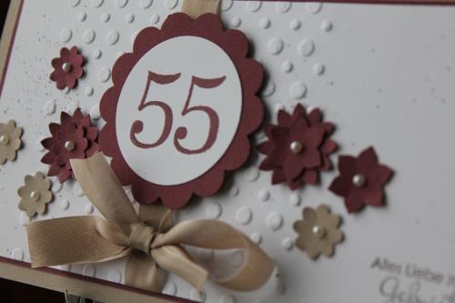 Geburtstagskarte zum 55. Geburtstag, mit Boho-Blütenstanze und Stempelset Perfekte Pärchen,Bild2, gebastelt mit Produkten, Stempeln und Stanzen von Stampin\' Up!