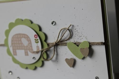 """Danksagungskarte \""""Dickes Dankeschön\"""", benutzt wurde Das Stempelset \""""Gemusterte Grüße\"""" und die \""""Herz an Herz\"""" Stanze, Bild2, gebastelt mit Produkten, Stempeln und Stanzen von Stampin\' Up!"""